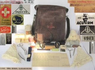 WWII Original German Army Medic First Aid Bag w Equipment