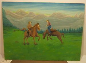 Art Oil on Canvas Board Americana Primitive Cowboys Horses Signed Leo Whitter