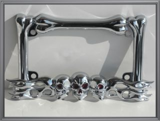 Chrome 3 Skull Bone w Tribal Flame Custom License Plate Frame for Motorcycle