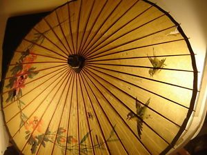 Chinese Paper Umbrella Parasol Birds Floral Wood Handmade Vintage Asian Art Dec