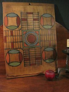 Antique 1800s Folk Art Paint Decorated Wooden Parcheesi Game Board AAFA