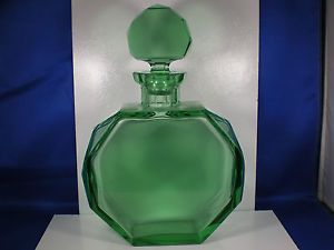 Antique Art Deco Rich Emerald Green Color Glass Octagonal Shape Decanter