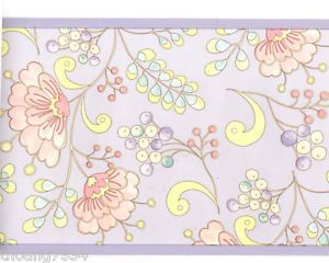 Dena Pastel Snow Flower Floral Art Deco Scroll Lavender Pink Wall Paper Border