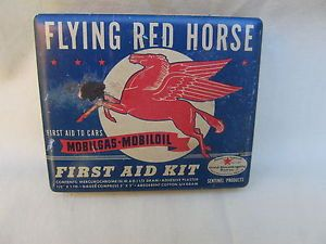 Vintage Mobilgas Mobiloil Flying Red Horse First Aid Kit Tin Mobil Old Tin