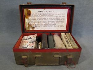Vintage WWII US Military Army First Aid Kit Full Unused Items Solid Metal