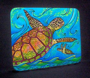Soaring Turtles Sea Turtle Art Tempered Glass Cutting Board Hot Plate