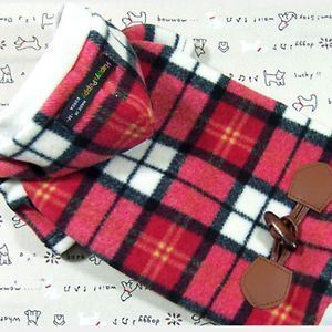 Dog Clothing Polar Fleece Check Pattern Hoodie Coat 515