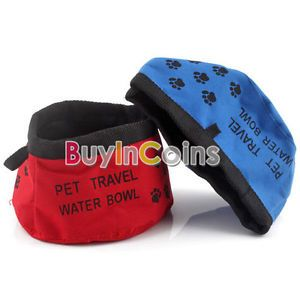 Pet Dog Cat Folding Travel Water Bowls Food Dish New