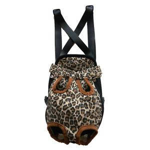 Small Leopard Canvas Pet Dog Puppy Carrier Backpack Front Net Carrying Case Bag