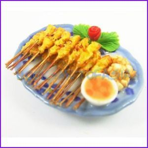 Delicious Chicken Pocky Satay Rice 3D Handmade Food High Quality Fridge Magnet