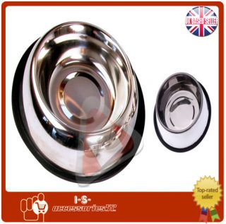 New Stainless Steel Non Skid Pet Dog Puppy Cat No Tip Slip Food Water Bowl Dish