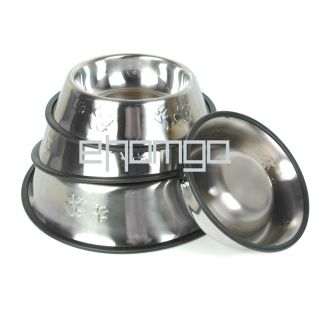 Stainless Steel Pet Dog Cat Water Food Feeder Bowl Dish Non Skid 5 20x28cm