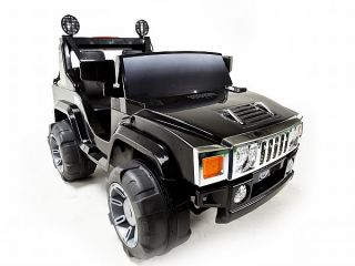 Black 12V Battery Power Kids Ride on Hummer Jeep w Big Wheels