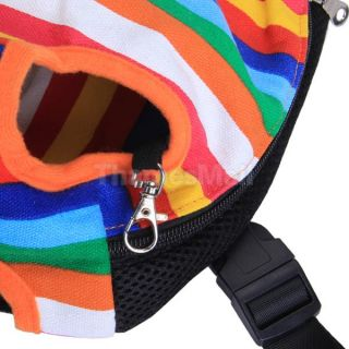 Pet Dog Colorful Striped Front Back Carrier Mesh Backpack Bag Legs Out s M L