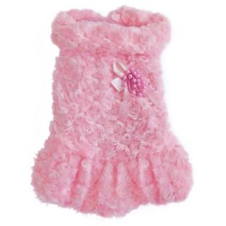 Pink Princess Dog Puppy Pet Girls Winter Apparel Clothes Rose Pearl Dress Sz M