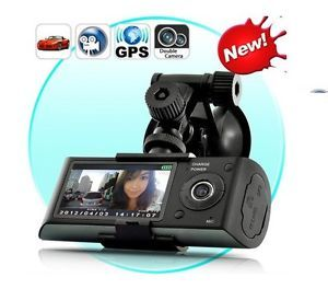 "2 7"" Dual Lens Dashboard Dash Camera Car DVR Black Box Video Recorder GPS Logger"