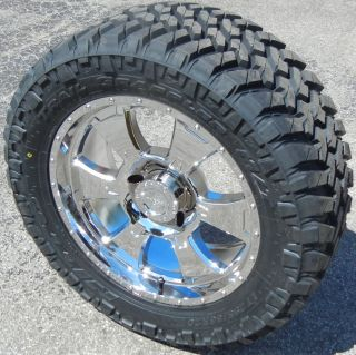 "20"" Chrome Procomp 6098 Wheels Rims 33"" Nitto Trail MT Tires Toyota Tundra 5x150"