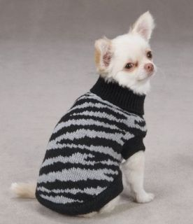 Zack Zoey Platinum Zebra Dog Sweater Turtleneck Black