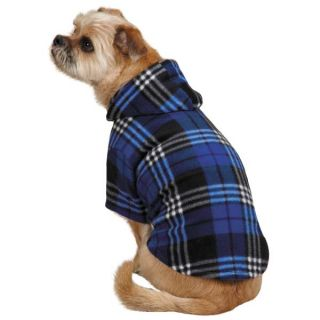 Casual Canine Everest Plaid Fleece Dog Hoodies Dog Hoodie Pet Purple Blue