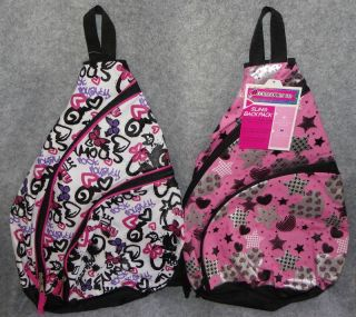 Accessories 22 Girls Sling Backpack Book Bag Tote White or Pink
