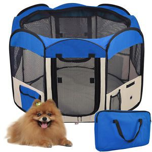 "33"" 2 Door Soft Pet Playpen Dog Guinea Pig Puppy Exercise Crate Pen Kennel Blue"