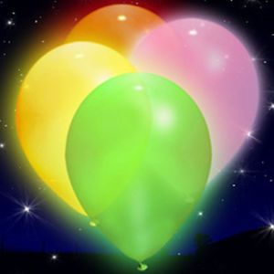 LED Illoom Balloons 5 Pink Orange Green White Yellow Light Up Balloons