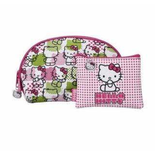 Hello Kitty Cosmetic Bags 2 Makeup Bags Cases Gift Set Hello Kitty Print Pink WT