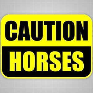 Caution Horses Sticker Horse Safety Stickers Horse Trailer Caution Graphic
