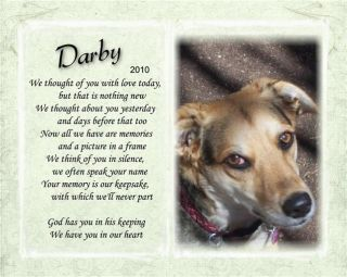 Pet Memorial Poem We Thought of You with Love Today Your Pet Photo Dog Cat
