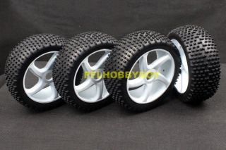 A0425 4X 1 8 Buggy Tires for HPI RC Car 17mm Hub Wheel Rim Tires