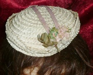 Very Very RARE Vtg Civil War Victorian Straw Pork Pie Dress Hat Bonnet