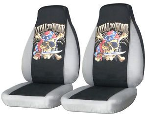 Cool Set Pirate Skull Front Car Seat Covers Silver Blk Other Item Back Seat Avbl