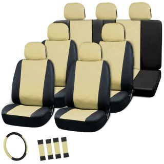23pc Full Set Tan Beige Black Auto Van Seat Covers Buckets Bench Wheel Head Belt