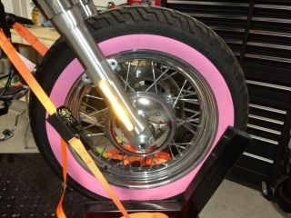 "2012 Harley Davidson FLSTN Softail Deluxe Stock Wheels Tires ""Pink"""