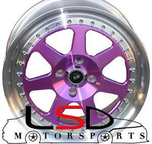 15 Rota J Mag Purple Rims Wheels Tires Civic Integra Jetta Fit Miata Falken 912