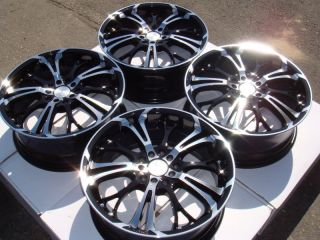 17 5x114 3 5x100 Black Wheels Lexus Cavalier TL Matrix mazdaspeed G35 5 Lug Rims