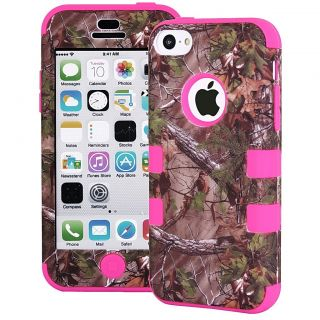 3 Layer Rugged Hybrid Real Tree Forest Camo Case Cover for iPhone 5c Hot Pink