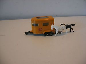Vintage Matchbox Superfast Horse Trailer and Horses