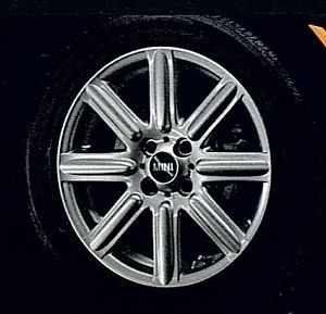 "Mini Cooper 16 ""R115 8 Star Rib Spoke Silver Rim Wheel with Hubcap New"