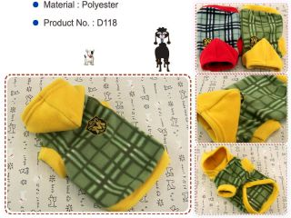 Dog Cat Clothes Warm Hoodie Shirts Pet Apparel Check Pattern Coats Khaki D119