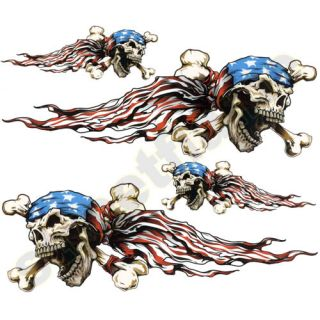USA Skulls Patriotic Decal Sticker Motorcycle Car Flame