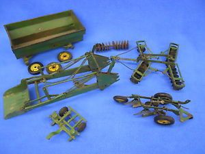 Vintage John Deere Toy Lot Plows Wagon Tractor Front Loader Parts Sold as Is