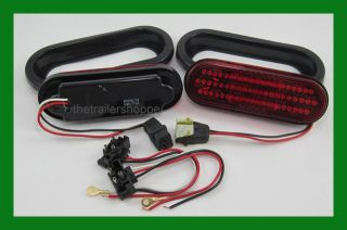 "LED 6"" Oval Stop Turn Tail Lights Truck Trailer Camper"