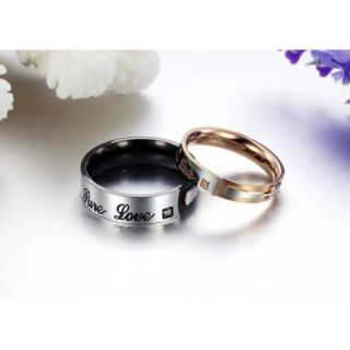 "Black Gold Stainless Steel "" True Love"" Engraved CZ Jesus Cross Wedding Ring"
