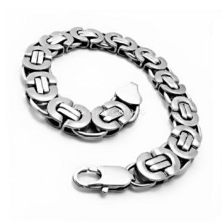 Unique High Polished Stainless Steel Mens Silver Link Chain Bracelet 8 7 Inch