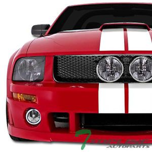 Blk Chrome Mesh Front Hood Bumper Grill Grille Fog Lights Hole 05 09 Mustang GT