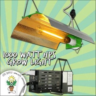 1000W 1000 Watt HPS MH Grow Light System Set Kit w Wing Reflector Hood Ballast