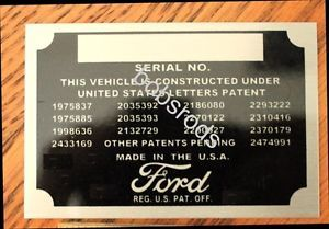 Ford Patent Data Plate ID Tag Street Rod Hot Rat Rod New Information Collector