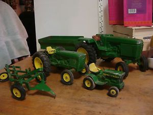 3 Ertl John Deere Toy Tractor Tractors Trailer Cultivator for Parts or Repair