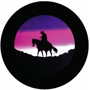 "Lonesome Cowboy Spare Tire Cover for Trailers RVs SUVs 22"" 35"" Available"